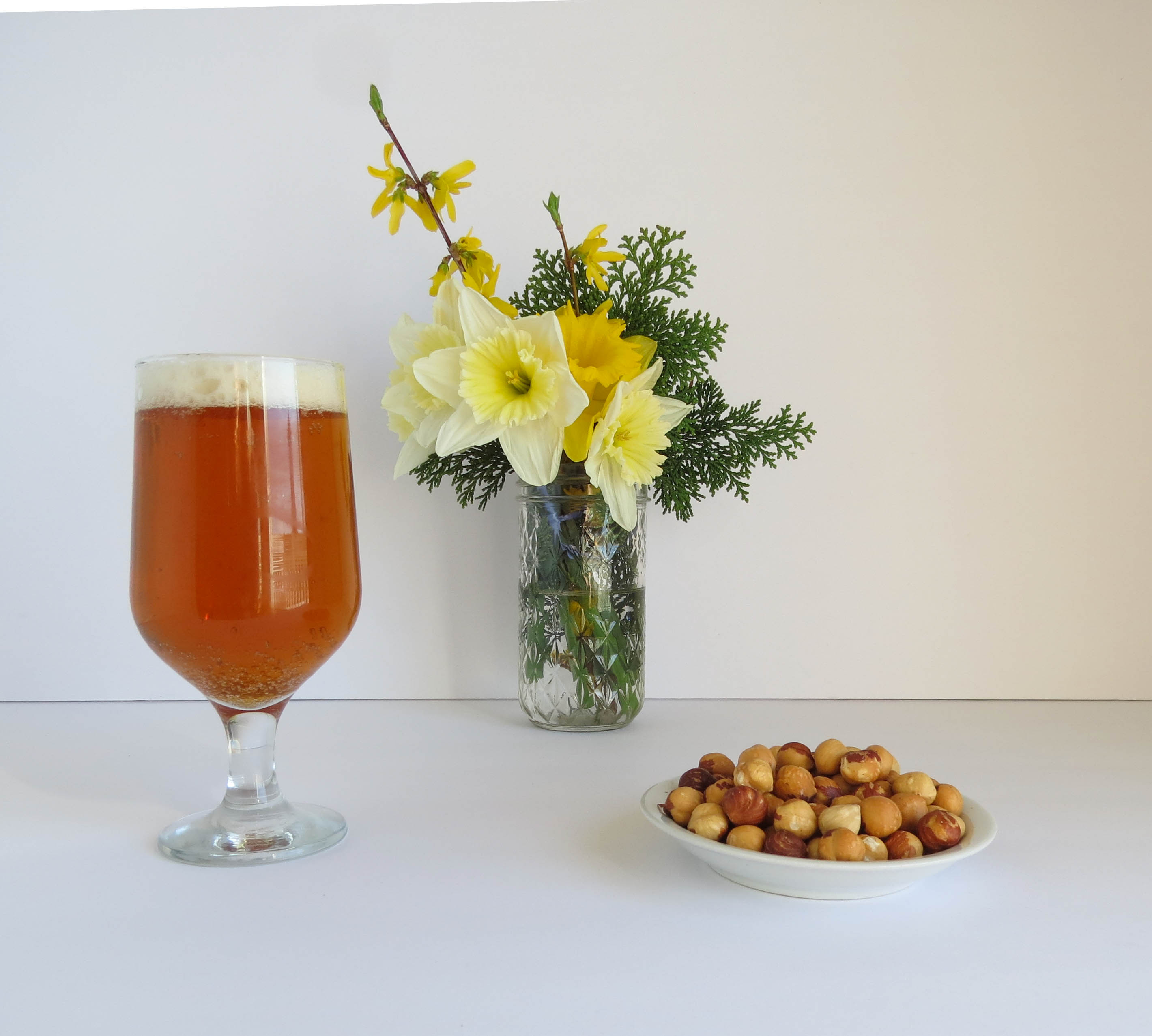 Golden ale and hazelnuts